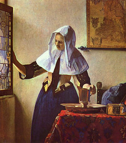 Young Woman With Water Pitcher, by Vermeer. 1662